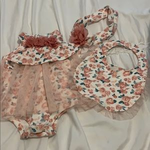 NWOT 0-3 month onesie. Bib and headband included